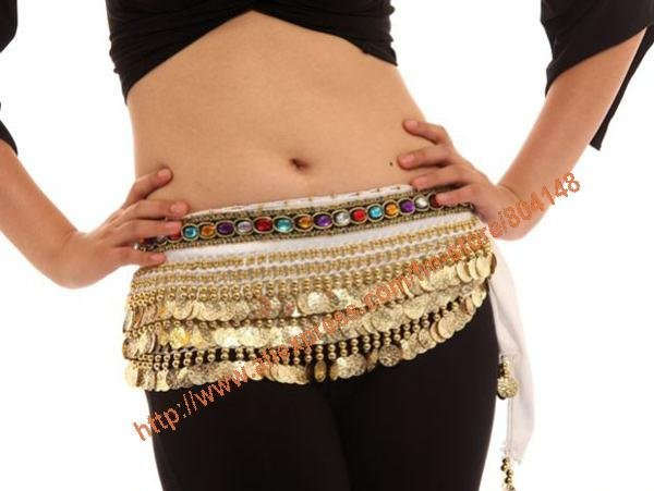 Free Shipping Belly Dance Faux Gem 248 Gold Coins Hip Scarf Belt  Skirt