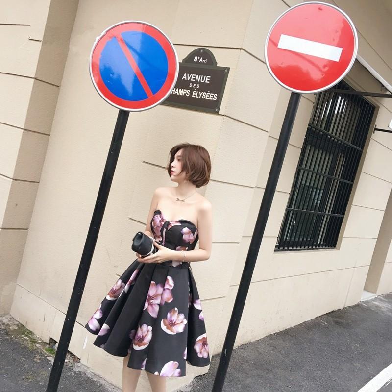 New Arrival Sleeveless Sweetheart Sexy Bridesmaid Dress Taffeta Printed Vestidos Dama Off The Shoulder Dress Bridesmaid 0106E 2
