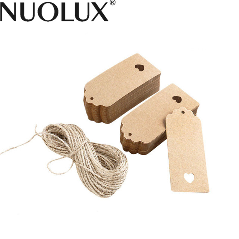 100pcs 9*4cm Hollow Heart Scalloped Kraft Paper Card Wedding Favour Gift Tag Luggage Tag Price Label With 10M Rope