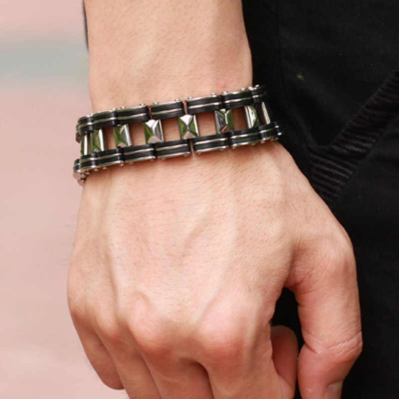 Ze stali nierdzewnej bransoletka i bransoletka biżuteria bransoletka męska na co dzień 304L 210mm moda męska biżuteria lina splotkowa Charm Chain Wristband