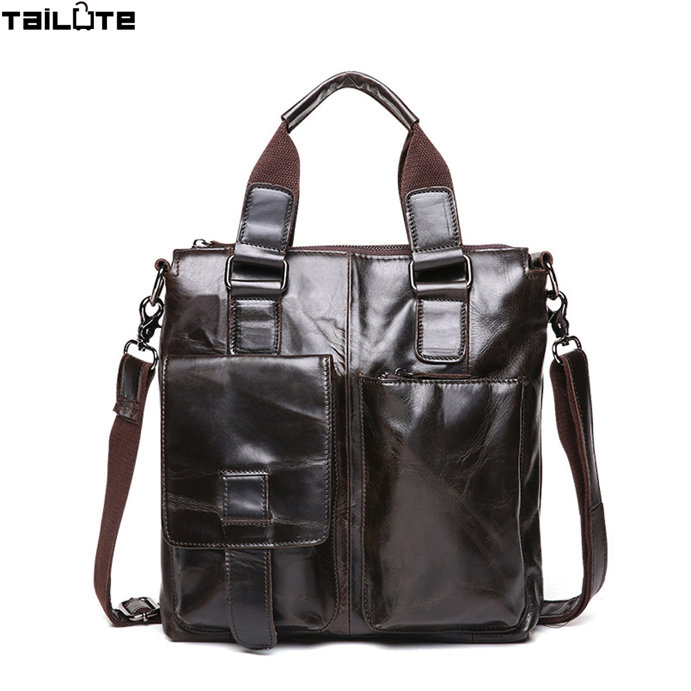 TAILUTE Brand Men Bag Handbag Genuine Leather Bag Cowhide Leather Men Briefcase Business Casual Men's Messenger Bags for Men 2017 genuine leather wallets for men men s business clutch bag for phone cases brand design cowhide multi function casual bags
