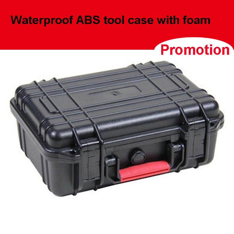 ABS Tool Case Toolbox Impact Resistant Sealed Waterproof Safety Case Equipment Camera Case With Pre-cut Foam 263x206x106 Mm