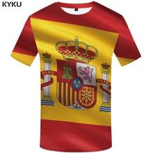 KYKU Spain T Shirt Women Spanish Flag Shirts Hip Hop Tshirt 3d Print T-shirt Cool Womens Clothing 2018 New Summer Short Sleeve