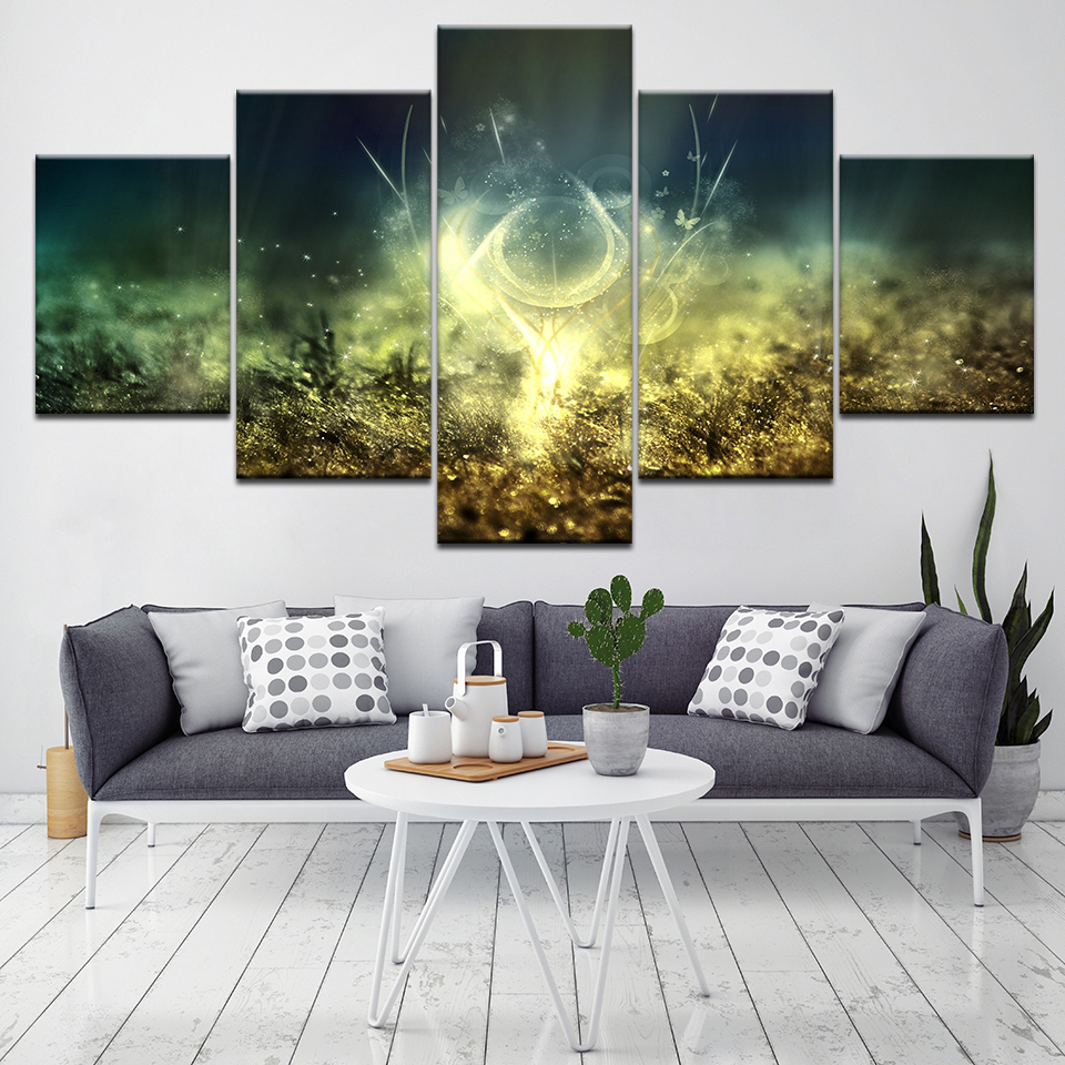 A Blight grass landscape 5 Piece Canvas Wallpapers modern Poster Modular art painting for Living Room Home Decor
