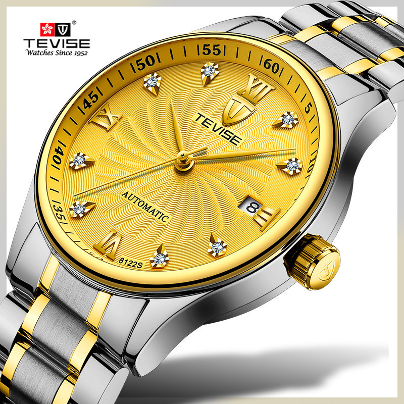 TEVISE Brand Men Mechanical Watches Luxury Fashion Business Watch Automatic Wristwatch Gold Clock Relogio Masculino Montre Homme tevise brand men s mechanical watch fashion luxury automatic watches moon phase leisure gold wristwatch clock relogio masculino