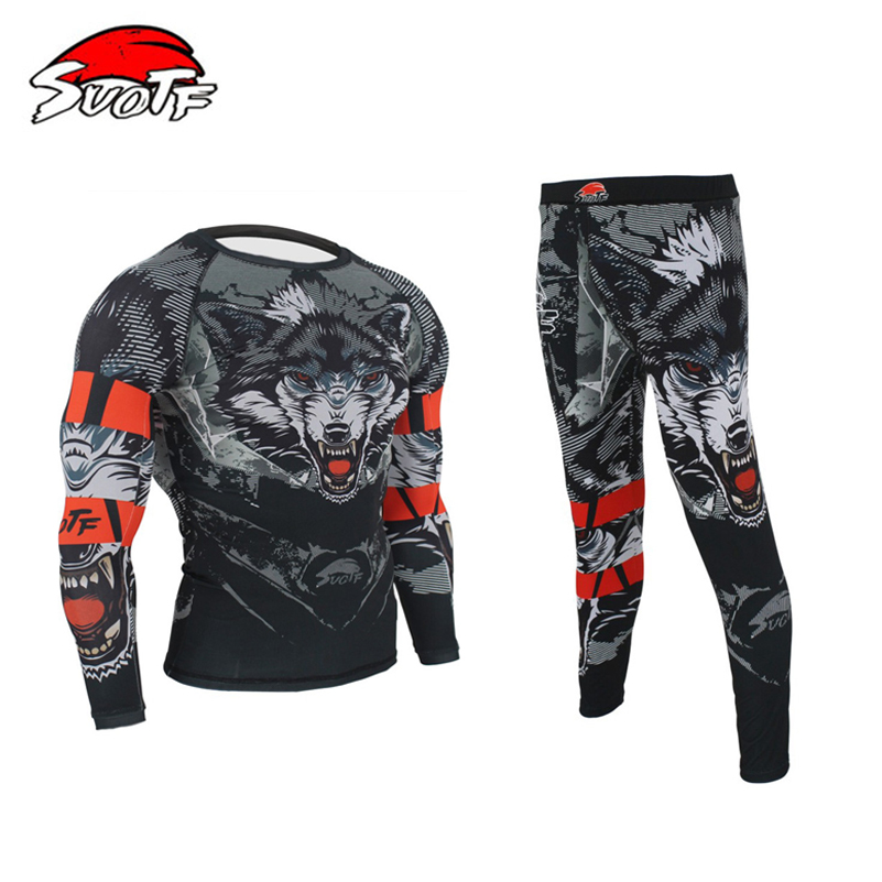 3D Wolf Printing MMA Rashguard Boxing Set Compression Jersey & Pants KickBoxing Tight Long T-Shirt Trousers Muay Thai Fightwear