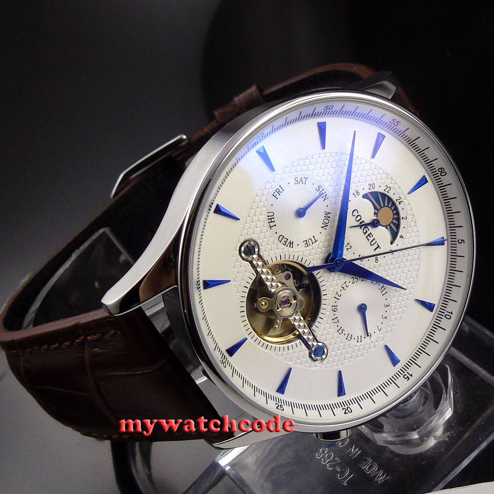 44mm corgeut white dial Moon Phase blue marks automatic mens wrist Watch CO36 все цены