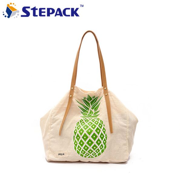 Summer Embroidery Pineapple Canvas Bags Leisure Hand Carry Shoulder Shopping Bag