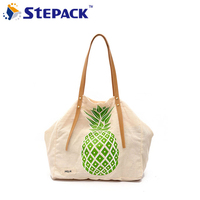 2017 Summer New Embroidery Pineapple Canvas BagS Leisure Hand Carry Shoulder Shopping Bag
