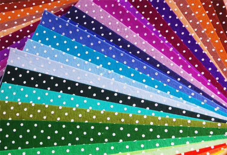 30pcs printed polka dots felt fabric pre cut 30cm x 30cm for Polka dot felt fabric
