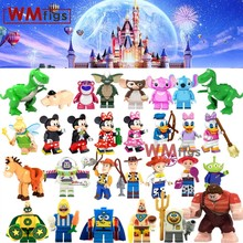 Toy Story 4 Anime Cartoon Spongebobs Stitch Forky Woody Bo Peep Donald Duck Building Block Friends Baby Gift Toy for Children(China)