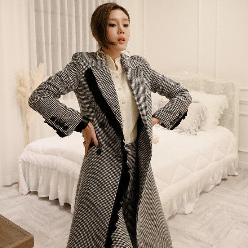 Pantalons Nouveau Crayon Et Élégant Gris Double Manteau Mode 2019 Plaid Laine Pantalon De Costumes Ensembles Hiver Automne Femmes Boutonnage Blazer 8Farq8f