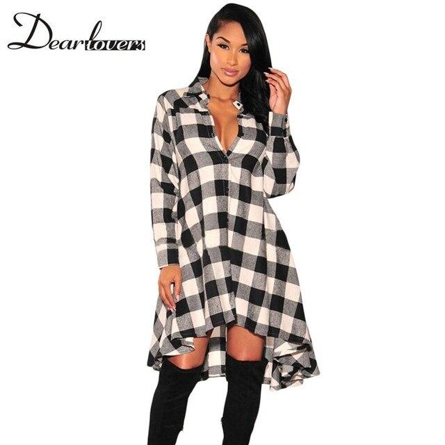 6e6636589e Dear lover Black White Plaid Shirt Dresses Woman Dresses Spring 2017 Long  Sleeve Flare High Low Vestido Casual Dress LC61339
