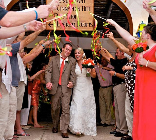10pcs Of Wedding Ribbon Wands Fairy Stick Magic Wand Decorated Flowers Lawn Twiring Stream Sticks