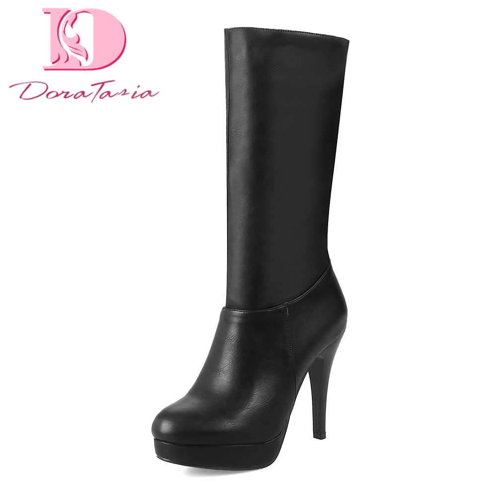 DoraTasia 2018 brand dropship large size 31-43 women shoes woman boots mid-calf boots thin high heels shoes sexy lady boots цена