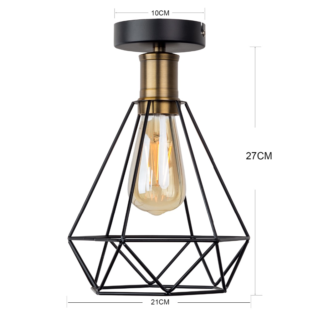 HTB15J0mVY2pK1RjSZFsq6yNlXXaF Vintage Iron cage  Ceiling Light LED Shade Industrial Modern Ceiling Lamp Nordic Lighting Cage Fixture Home Living Room Decor