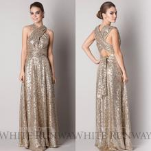 2016 Gold Sequins High Neck Cap Sleeves Long Bridesmaid Dresses Bling Sheath Prom Dresses Cheap Bridesmaid Formal Gowns B11