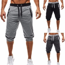 2019 New Summer Casual Men Beach Shorts Patchwork Joggers Short Sweatpants Knee Length Bermuda Mens Shorts plaid knee length casual mens shorts