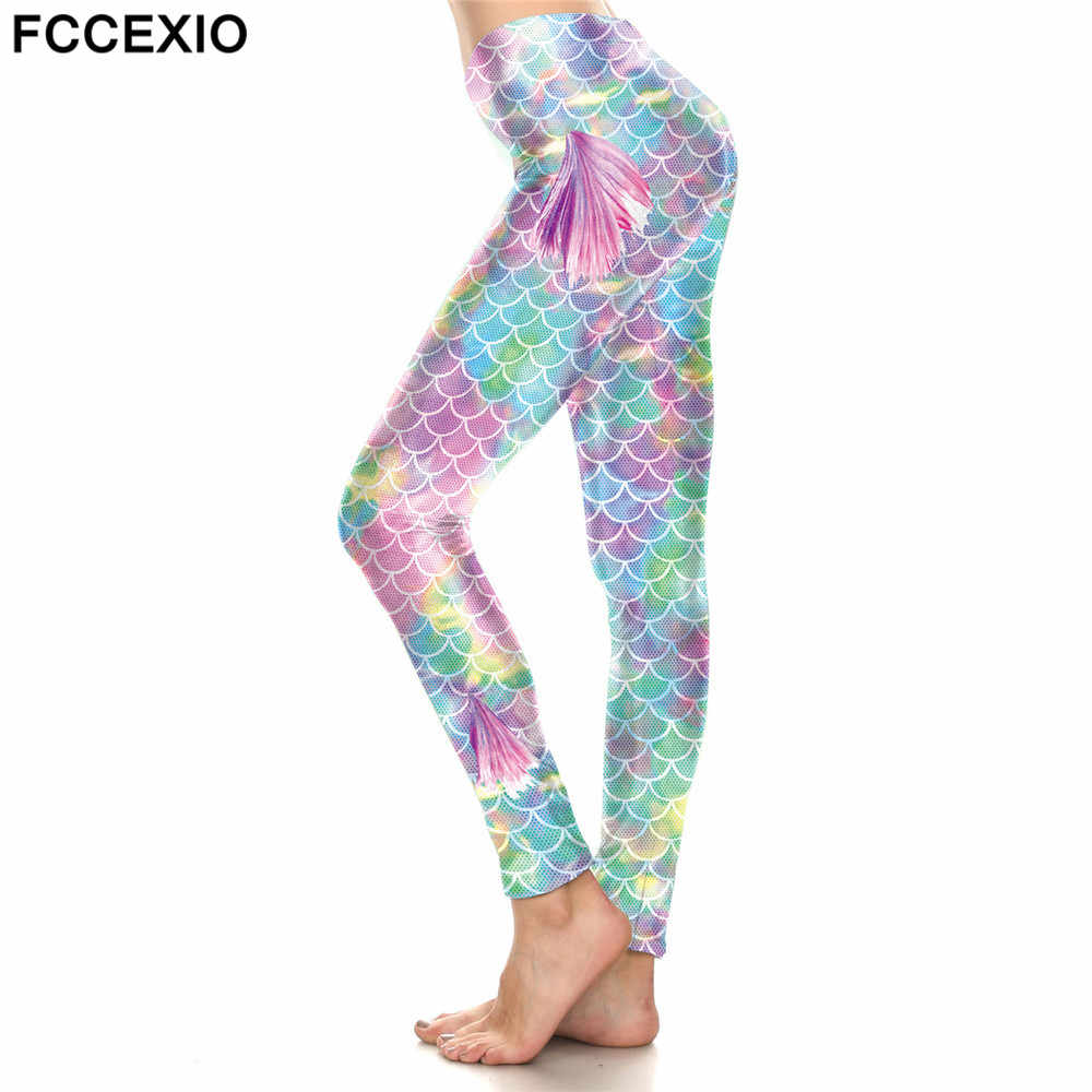 1dccff4116cfc FCCEXIO 2019 New Women's Ombre Pink Shiny Mermaid Wings Leggings Fish Scale Printed  Legging Stretch Fitness