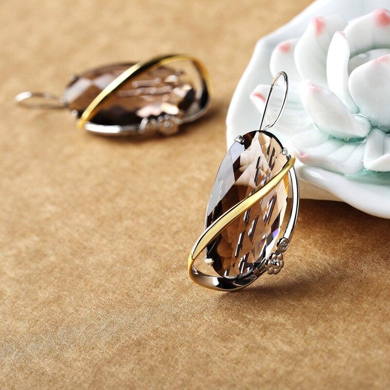 Takı ve Aksesuarları'ten Küpeler'de 925 Ayar Gümüş Takı Doğal Taş Dumanlı Kuvars Geometrik Küpe Kadınlar Için Noel Takı Oorbellen Voor Vrouwen'da  Grup 1