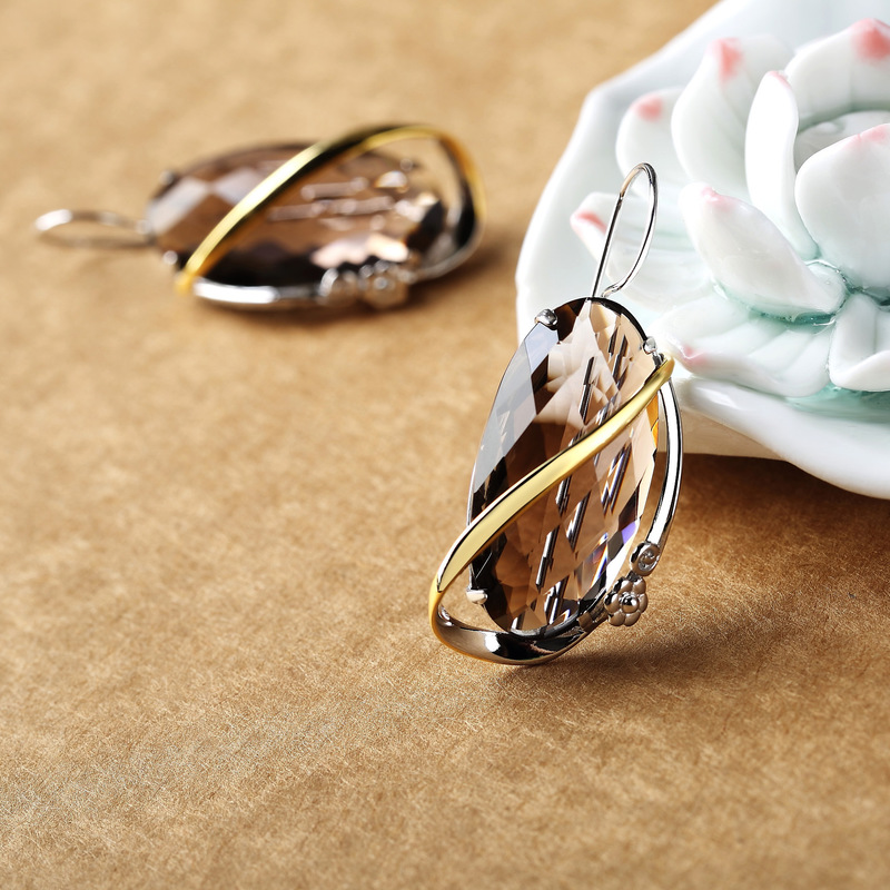 925 Sterling Silver Jewelry Natural Gemstone Smoky Quartz Geometric Earrings For Women Christmas Jewelry Oorbellen Voor Vrouwen