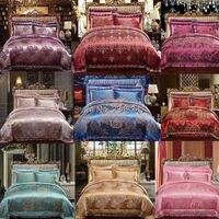 4Pcs Luxury Silk Lace Satin Flora Jacquard Cotton European Style Queen Size Bed Quilt Doona Duvet