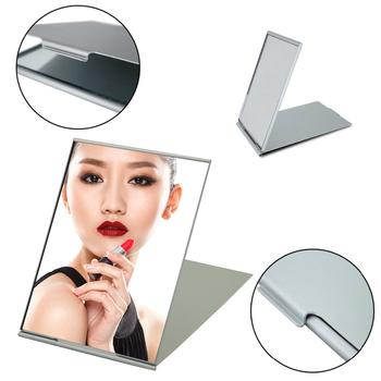 Ultra-cienki kieszonkowy makijaż składane lusterko srebrna torba do przenoszenia prostokątne składane lusterka do makijażu lustro ozdobne materiały eksploatacyjne tanie i dobre opinie CN (pochodzenie) Oprawione makeup mirror Szkło foldable mirror portable mirror folding mirror Pocket Mirror pocket mirror compact