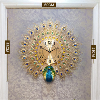 Horloge Murale De Cuisine Rétro | Rétro Moderne Horloges Murales Grande Horloge Murale Art Doré Paon 3d Horloges Murales Pour Salon Horloge Murale Cuisine Horloge Meilleure Vente