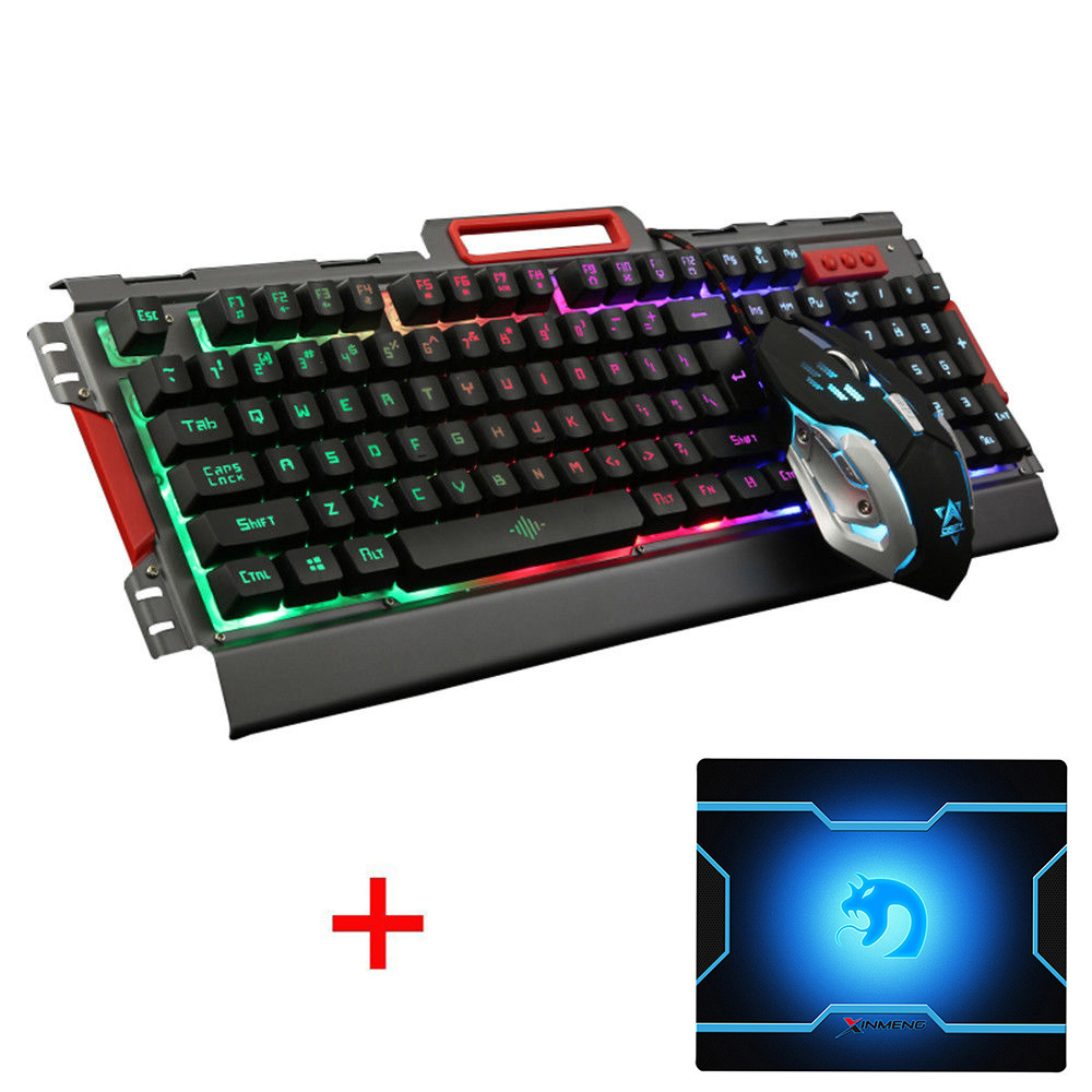 купить K33 Wired Rainbow LED Backlit illuminated Ergonomic Usb Gaming Keyboard + 3200DPI 6 Buttons Optical Gamer Mouse Sets + Mouse Pad недорого