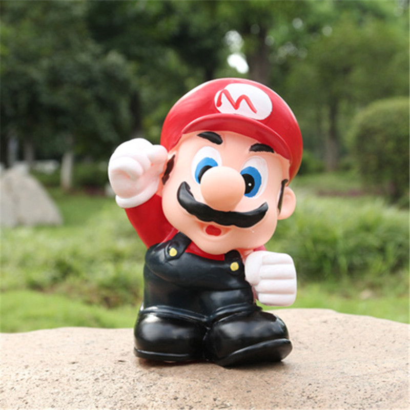 Creative cute Super mario bros piggy bank 21cm mario Luigi figure action toy money-box PVC figure brothers game model