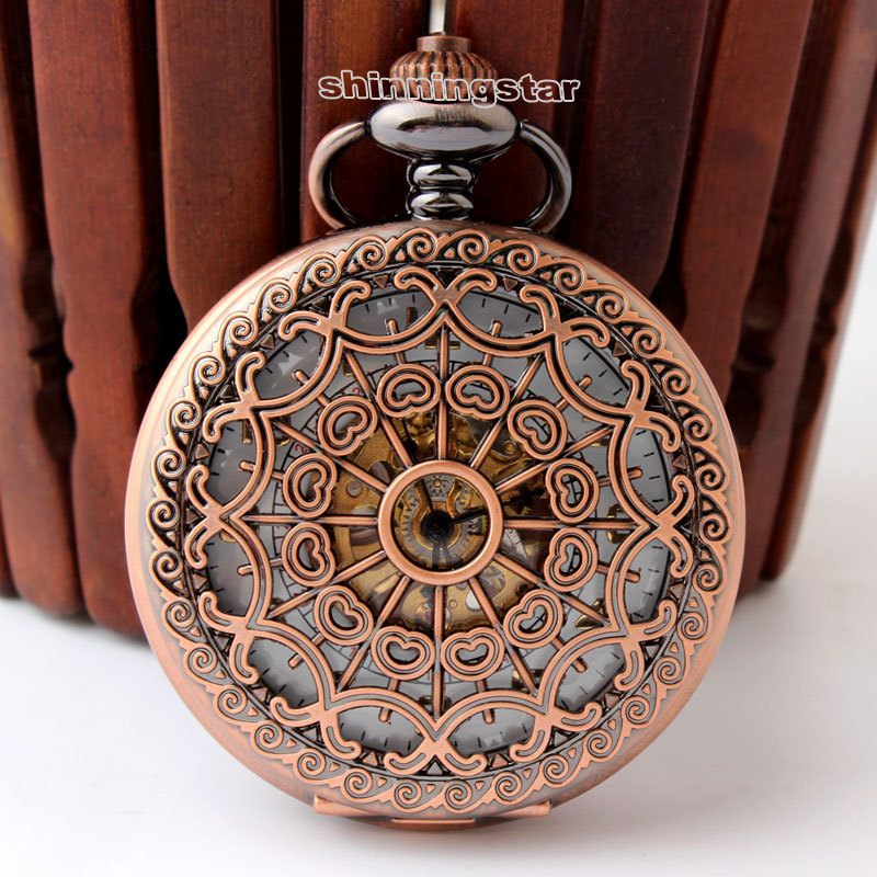 New refinement Key chain watch Antique tan Hollow pendant watch necklace Mens Woman mechanical watch retro pocket watch Gift new top grade gift pure tan wooden type h chun tan mu shu h kuan