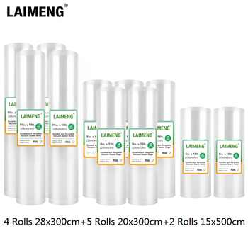 LAIMENG 11 Rolls Per Pack Vacuum Bags For Food Vacuum Sealer Sous Vide Cooking Storage Bags for Vacuum Packer 15+20+28cm R202 - DISCOUNT ITEM  40% OFF All Category