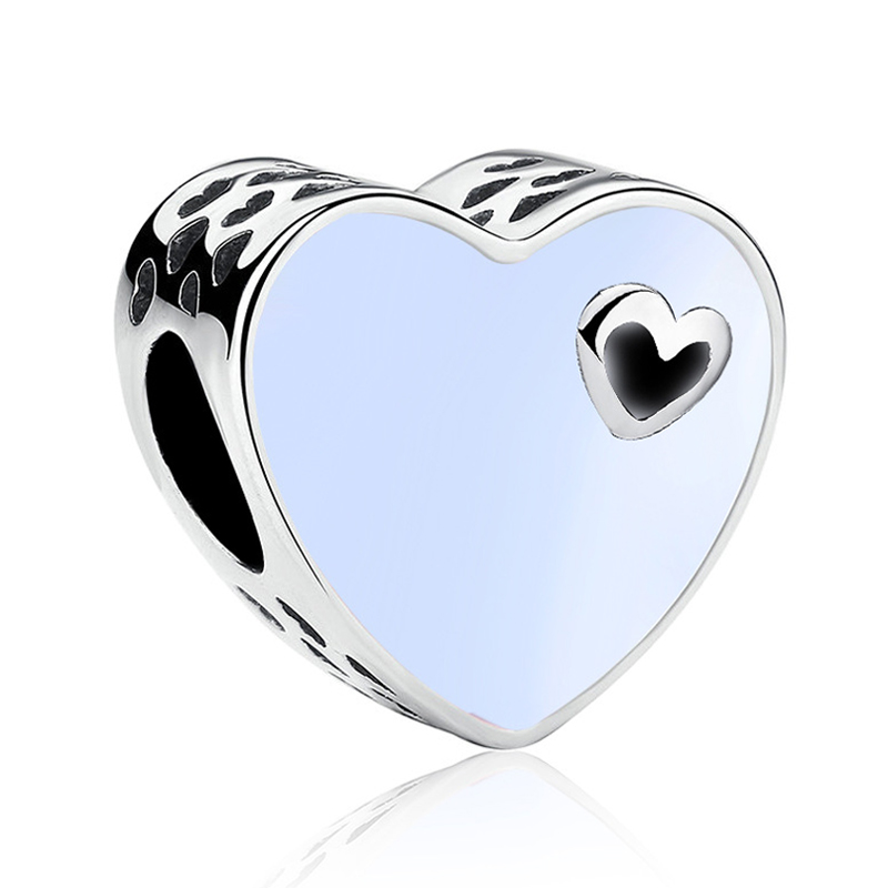Valentine Original Silver Plated White Enamel Heart Bead Charm Fit European Pandora Charm Bracelets Jewelry Making Accessories