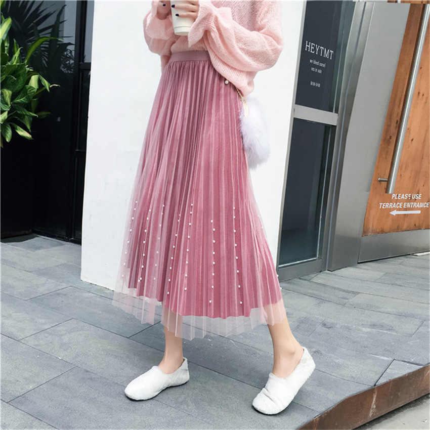 Женская стильная плиссированная юбка mujer moda 2018 эластичная талия Дамская длинная юбка Повседневная бархатная шикарная юбка до середины икры jupe femme
