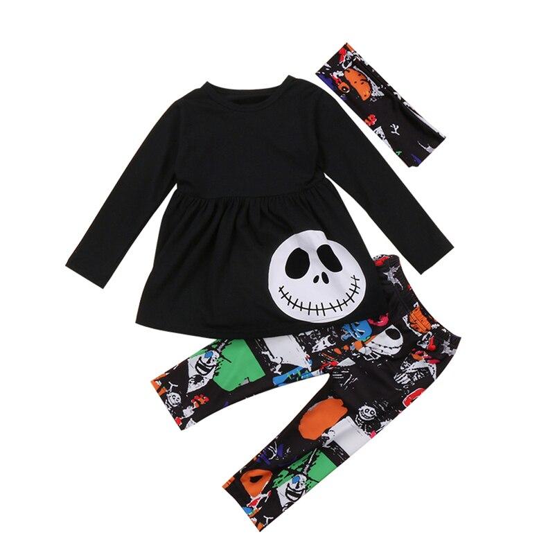 Toddler Kids Baby Girls Autumn Outfits Clothes T-shirt Tops+ Leggings Pants 2017 Halloween 3PCS