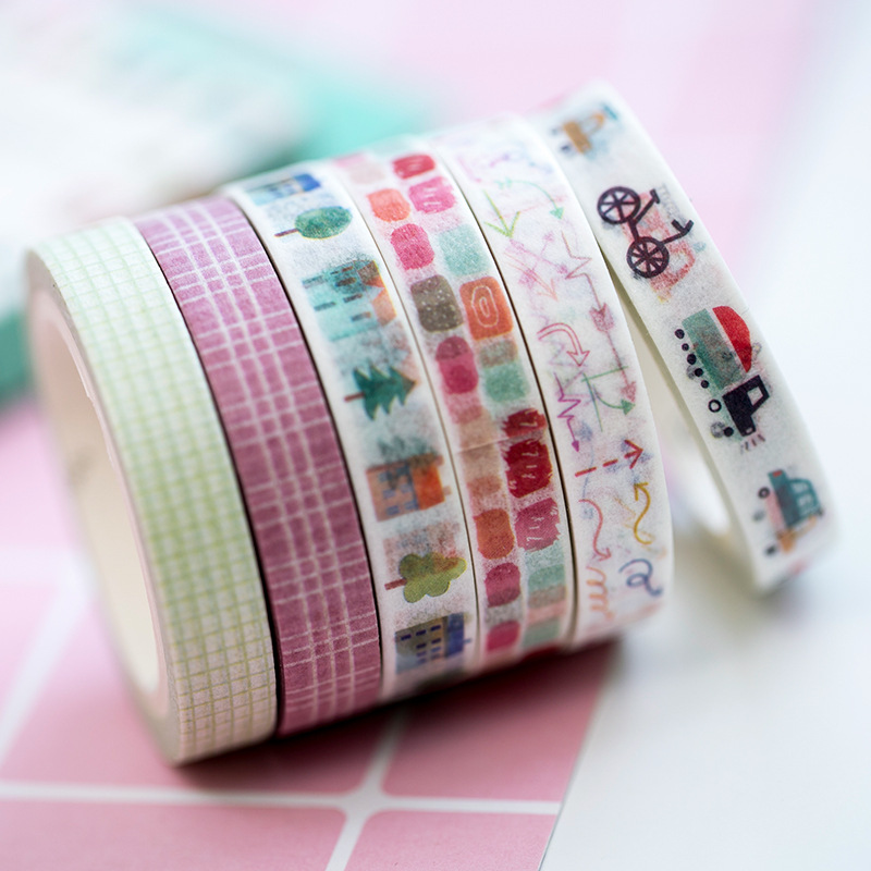 Basic Color Collage Washi Tape 8mm Wide Decorative Sticky Paper Masking Adhesive Tape Scrapbooking DIY