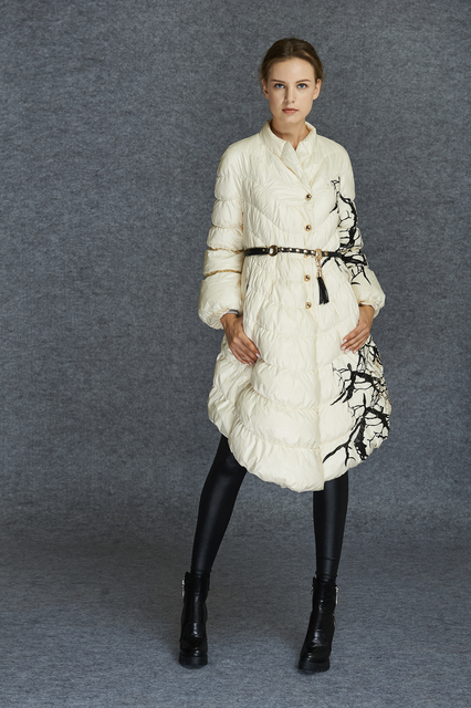 Women Winter Parkas Long White Duck Down Jacket Thickening Feminine Print Belt Outerwear Casual Down Over Coat High Quality S-XL