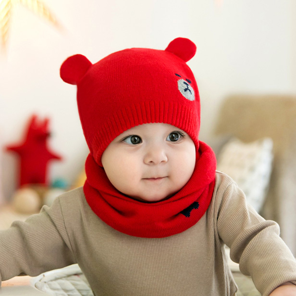 2 Pcs Autumn Winter Newborn Baby Knit Hat Scarf Set Cartoon Bear Cap Kids Boys Girls Winter Warm Beanie Hat Scarf Set doubchow adults womens mens teenages kids boys girls cartoon animal hats cute brown bear plush winter warm cap with paws gloves page 7