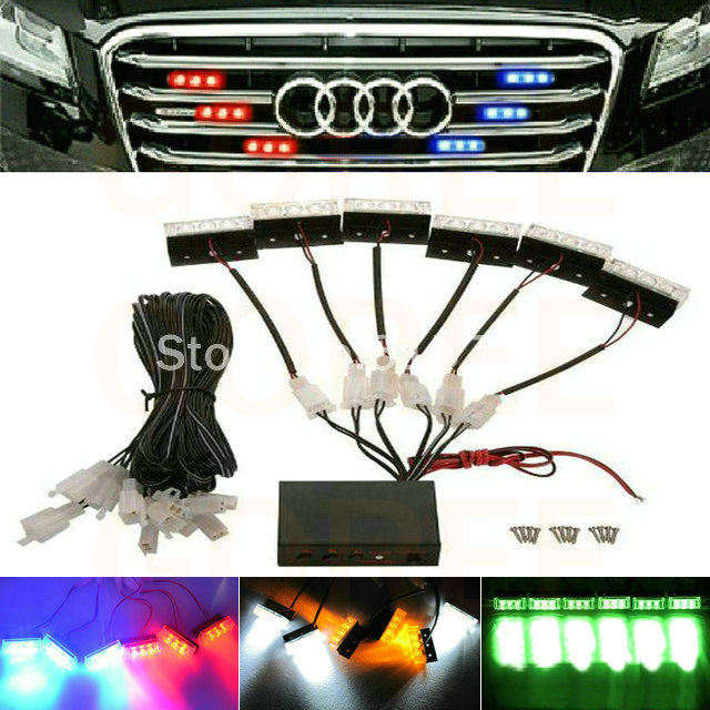 6*3 <font><b>LED</b></font> white green amber red blue <font><b>LED</b></font> Emergency Car Truck Front Grille Warning Signal Strobe Light Flashing light for passat b5 image