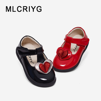 New Autumn Kids Heart Shoes Baby Girls Red Princess Flats Children Pu Leather Shoes Toddler Brand Sweet Shoes Glitter Mary Jane