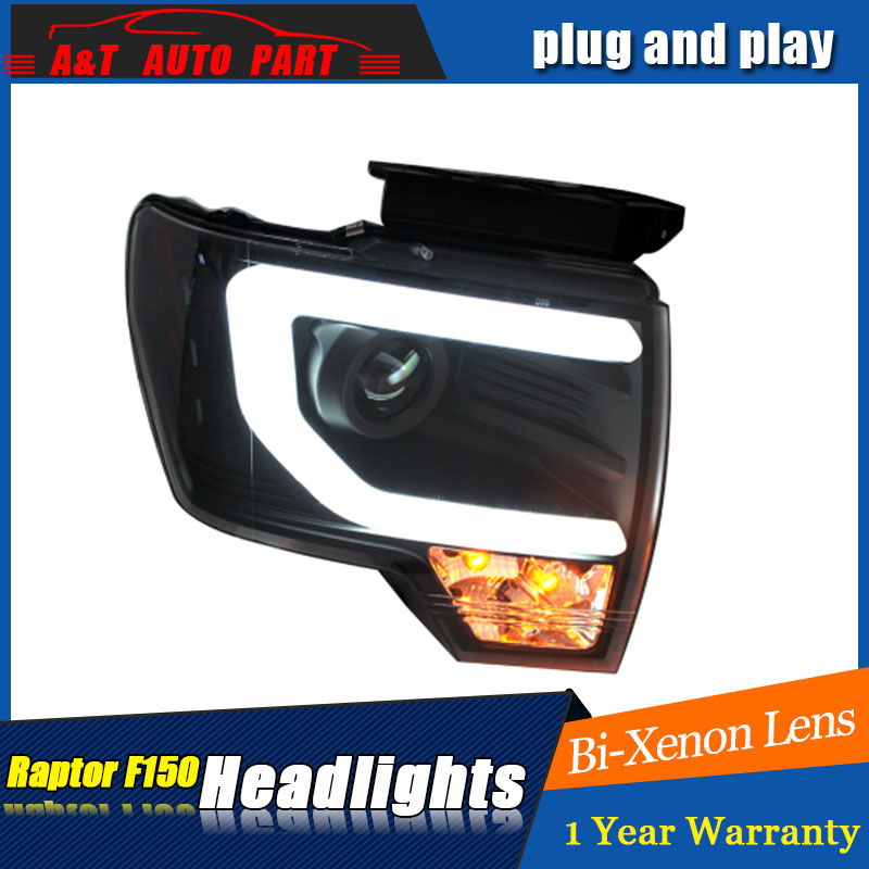 Auto part Style LED Head Lamp for Ford raptor led headlights 2009-2014 for raptor drl H7 hid Bi-Xenon Lens angel eye low beam