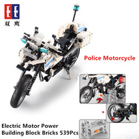 Technic Police Motorcycle Electric Motor Power Function Fit Legoings technic City Building Block Bricks Model Kid Christmas Gift