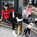 Meninas agasalho roupas de outono conjunto de roupas para crianças little big menina branca rosa vermelha conjunto esportes camisola 2 pcs meninas conjuntos