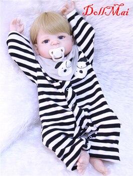 "22"" Full Body Silicone Reborn Baby Doll Toys Lifelike Victoria bebe reborn  boy girl Doll Child Brinquedos Bathe Toy"