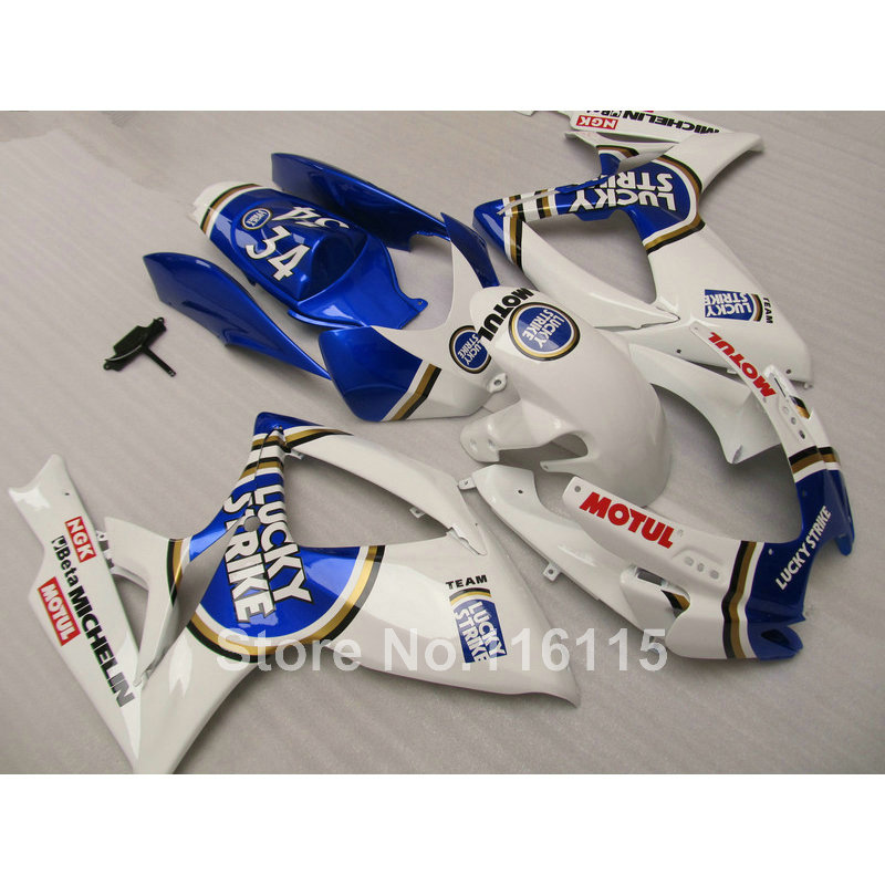 Injection moule carénage kit pour SUZUKI GSXR 600 750 K6 K7 2006 2007 bleu LUCKY STRIKE GSXR600 GSXR750 carénages ensemble 06 07 NF43