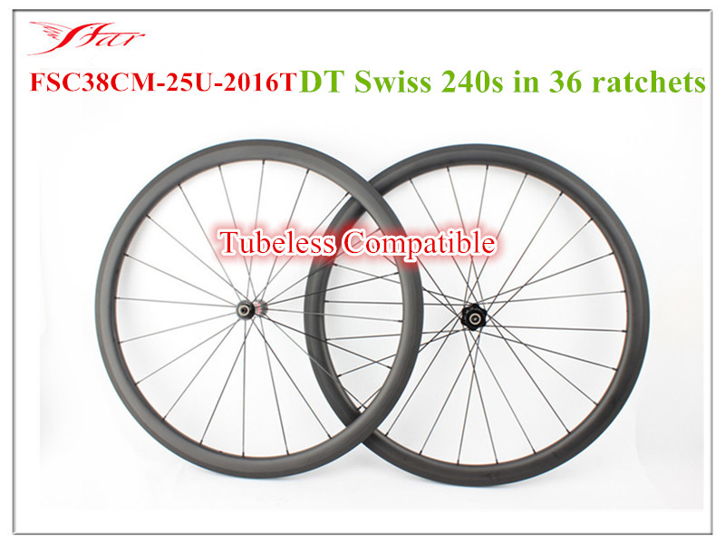 2017 Farsports Clincher Tubeless Ready carbon road wheels medium Profile 38mm x 25mm , <font><b>DT</b></font> 240s <font><b>hubs</b></font> and Sapim spokes 20h 24h