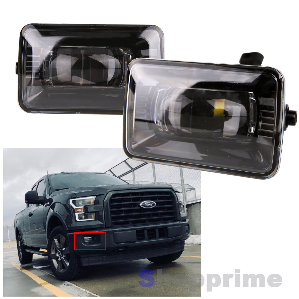 2 Pieces Auxiliary Lamp For 2015 2016 2017 2018 Ford F150 Projector LED Fog Light Replacement