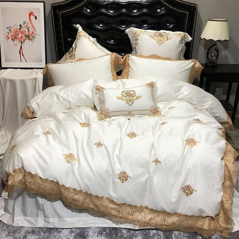 Creme branco do laço dourado Luxo real jogo de cama king size queen size lençóis capa de edredão roupas de cama Bordado conjunto jogo de quarto
