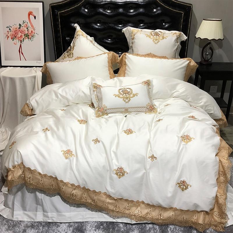 Creme Weiß Goldene Spitze Luxus Königlichen Bettwäsche Set König