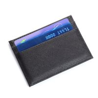ISKYBOB Leather Thin Card Case Mens Front Pocket Card Holder Purse Slim Wallet Men Mini Coin Pocket Black Passport & ID Holders